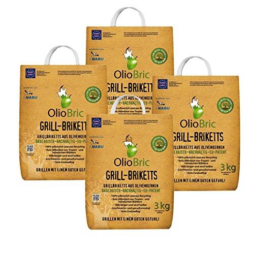 OlioBric Grillbriketts aus Olivenkernen 12kg Ohne Rauch Kein Holz Keine Funken Lange Brenndauer 100 Recycelte Grillkohle-Briketts für Jeden Grill  Umweltfreundliche rauchfreie Kohle Zum Grillen
