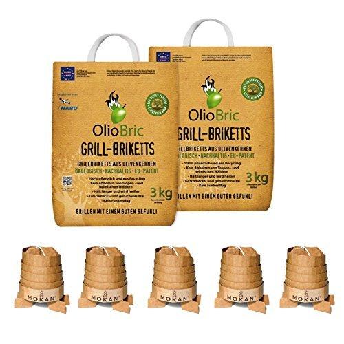 OlioBric Premium Bundle Olivenkern Grill-Briketts 6 kg und MOKAN Grillanzünder 5 Stück