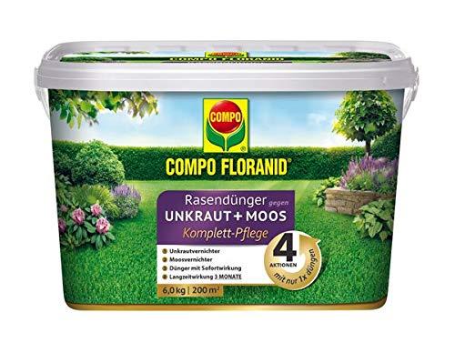COMPO FLORANID Rasendünger gegen UnkrautMoos 4in1 6 kg für 200 m²