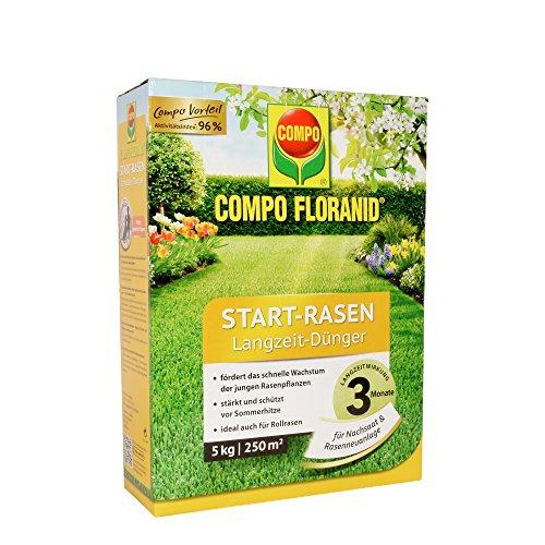 COMPO FLORANID Start-Rasen Langzeit-Dünger 3 Monate Langzeitwirkung Feingranulat 5 kg 250 m²