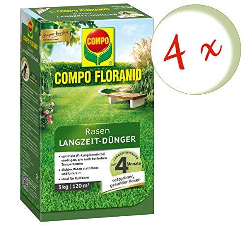 Oleanderhof Sparset 4 x COMPO Floranid Rasen-Langzeitdünger 3 kg  gratis Oleanderhof Flyer