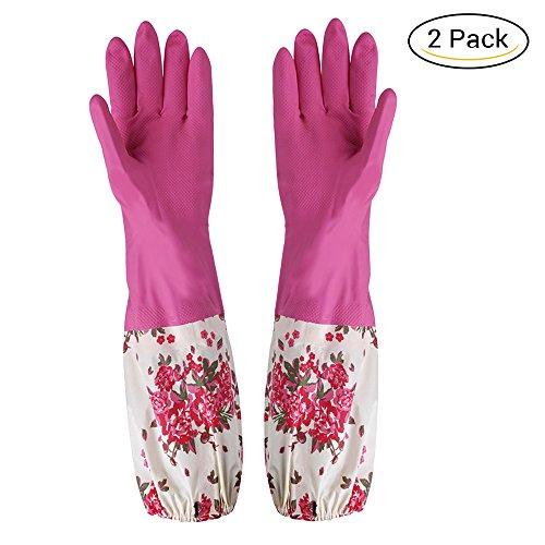 2x Langarm Handschuhe Reinigung Rutschfeste Haushalts Hausarbeit Küche Wäsche Geschirrspülen Lange wasserdichte Handschuhe Rose rot klein mit Blumen - L