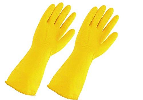 Mogoko 1 Paare Waschhandschuhe Wasserdichte Küche Handschuhe Haushalt Gummi Handschuhe für Wäsche Reinigung Latex Handschuhe GelbL Größe