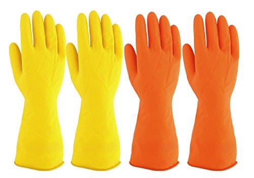 Mogoko 2 Paare Waschhandschuhe Wasserdichte Küche Handschuhe Haushalt Gummi Handschuhe für Wäsche Reinigung Latex HandschuheM Größe
