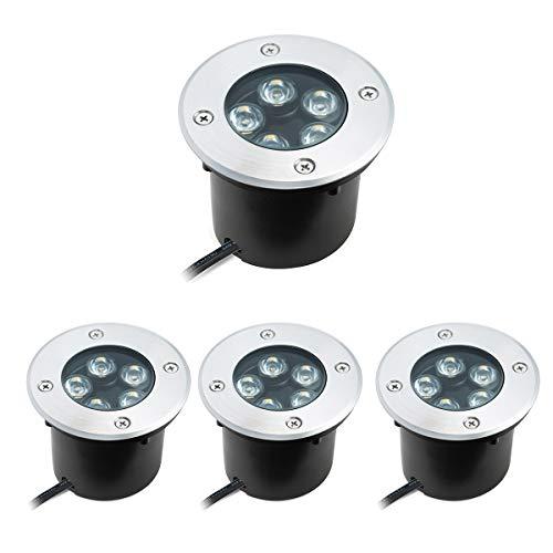 5W LED Bodeneinbaustrahler Warmweiß Aussen EinbaustrahlerBodenleuchte AC 230V IP67 für Aussen Wegbeleuchtung Garten Terrasse Treppe -60° Abstrahlwinkel 4 pack