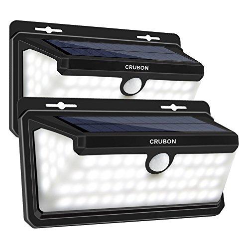 CRUBON Solarlampen für Außen Solarleuchten mit Flammen und Kaltweiß Bewegungsmelder 158 LEDs Wasserdicht 270° Weitwinkel Wandleuchten Solarbetriebene Sicherheitsleuchte LED Lampe für Treppen Garage Terrasse Garten Hinterhof - 2PACK