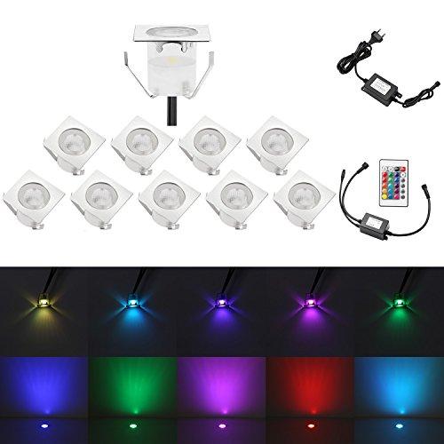 QACA 10X LED Einbauleuchten Bodeneinbaustrahler RGB Deckenspot Einbaustrahler Deckenleuchte Wasserdicht IP67 für Küche Garten Treppen Terrasse