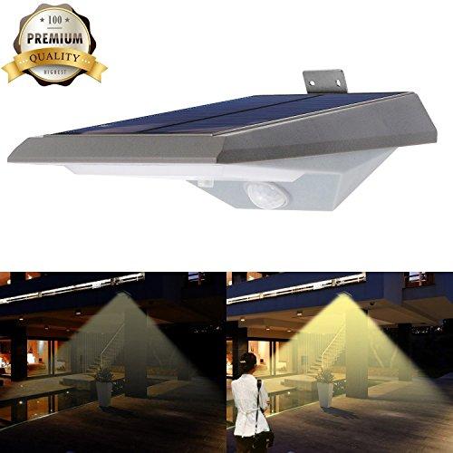 iThird Solarleuchte mit bewegungsmelder 18 superhelle LEDs mit 2 Beleuchtungsmodus für Veranda Treppen Garten Terrasse Garagen Eingang Warmweiß