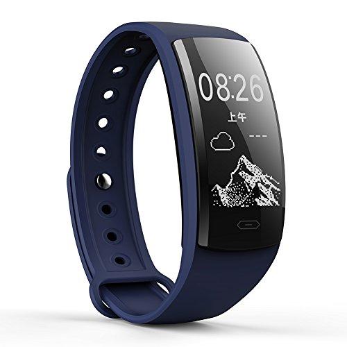 QS90 Fitness-Tracker mit Herzfrequenzmesser und Armband wasserdicht mit Blutdruckmesser Schlafüberwachung Anruferinnerung Schrittzähler für AndroidiOS
