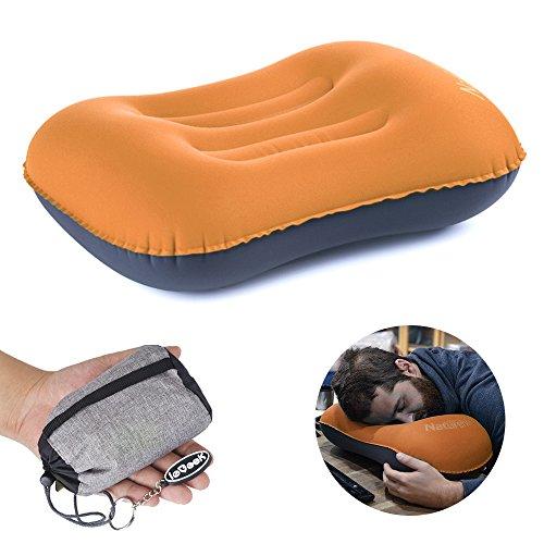 Ultralight aufblasbares ReiseCamping Kissen komprimierbar kompakt aufblasbar Komfortables ergonomisches Kissen für Nacken Lumbalstütze und für erholsamen Schlaf während Camping-Orange