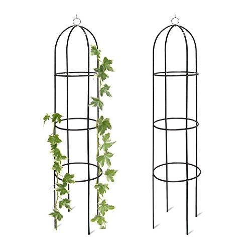2x Rankobelisk Rankhilfe freistehend dekoratives Rankgestell für Garten Rankturm Metall grün HBT 190 x 40 x 40 cm