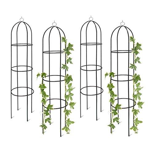 4x Rankobelisk Rankhilfe freistehend dekoratives Rankgestell für Garten Rankturm Metall grün HBT 190 x 40 x 40 cm