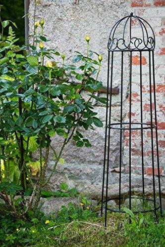 KUHEIGA Rankgerüst Schwarz Obelisk Rosenhilfe H 120cm Rankhilfe