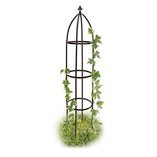 Relaxdays Rankhilfe Obelisk Metall 190 cm Ranksäule witterungsbeständig freistehend f Kletterpflanzen u Rosen braun