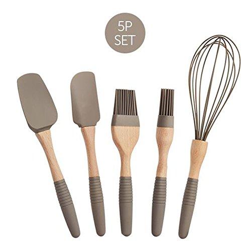 LOCK LOCK Silikon Küche Küchengerät Set - 5packs natürlichen hölzernen Silikon Küche Geschirr Set - Silikon Utensil Set Spachtel Set