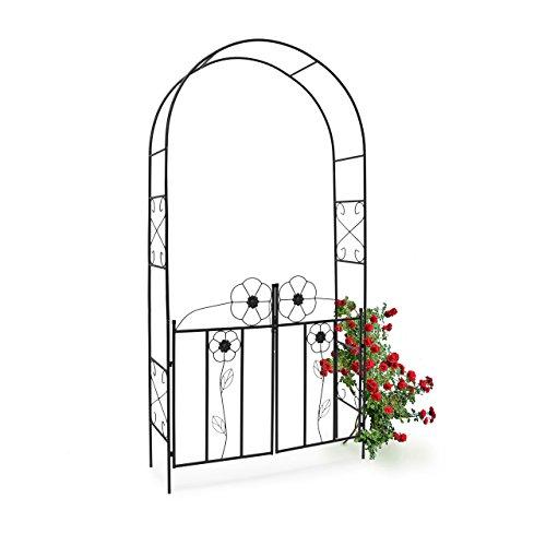 Relaxdays Rosenbogen mit Tor HBT 228 x 116 x 365 cm Torbogen aus pulverbeschichtetem Eisen mit schöner Verzierung und Tür-Flügeln Rankgitter und Rankhilfe für Rosen Kletterpflanzen schwarz