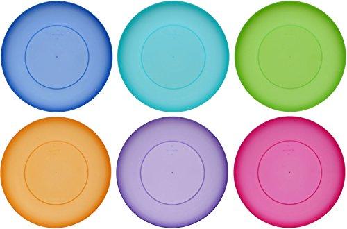 idea-station NEO Kunststoff-Teller 255 cm 6 Stück bunt rund stapelbar mehrweg Teller-Set Speise-Teller Plastik-Teller perfekt für Kinder Outdoor Camping spülmaschinenfest