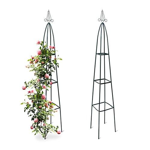 2x Rankturm Garten Obelisk freistehende Rankhilfe für Kletterpflanzen Ranksäule Metall HBT 192 x 35 x 35 cm grün