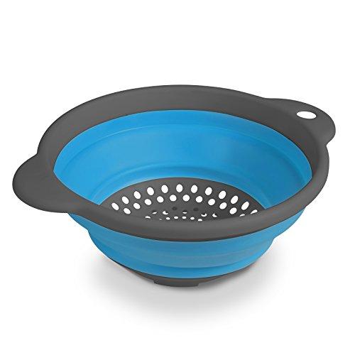 Leichtes faltbares Sieb aus umweltfreundlichem TPR in blau mit Griffen 24 x 20 cm • Küchensieb Nudelsieb Abtropfsieb faltbar Camping Geschirr Zeltküche Outdoor