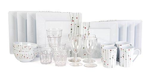 Melamingeschirr 24 Teile Linea Design inkl 4X Weinglas 4X Wasserglas