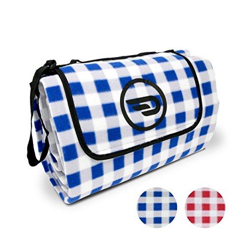 Luxamel Danura Picknickdecke Outdoor Fleece XXL Wärmeisoliert Wasserdicht mit Praktischem Tragegriff 200x175cm blauweiß