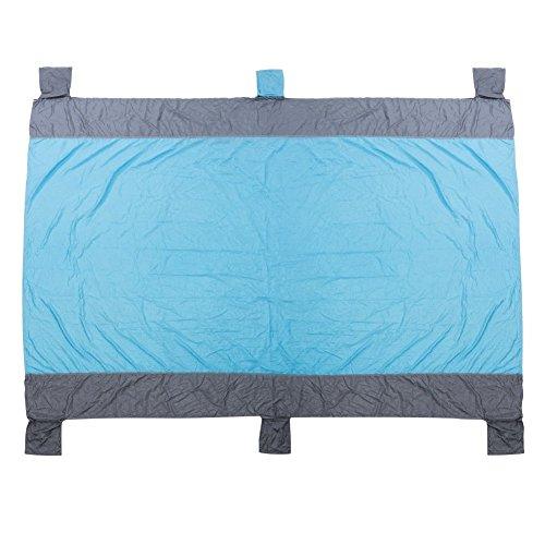 SMAGREHO Stranddecke 220 x 180 cm Strandmatte Picknickdecke wasserdicht sandfrei waschbar und schnell trocknend aus 210 T Nylon mit 6 Taschen und 4 Sandheringen Blau  Grau