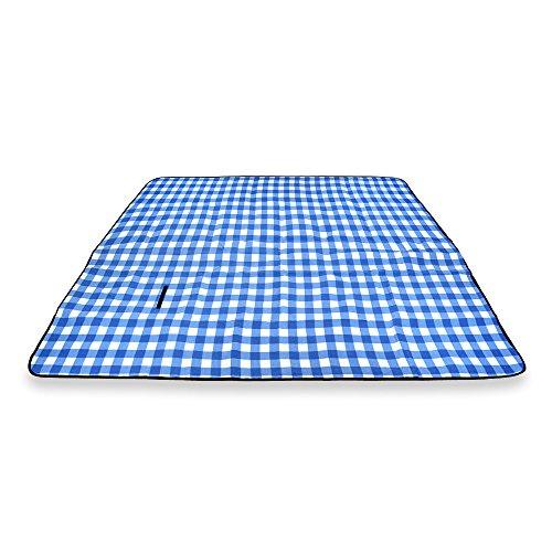 Schramm Picknickdecke faltbar mit Tragegriff aus Fleece in 3 Farben 2 x 2m Stranddecke Outdoordecke wasserfest und wärmeisolierend Campingdecke Picknickdecken FarbeBlau kariert