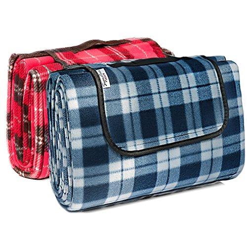 Signature Leisure-Picknickdecke 150 x 180 cm blauweiß-Tartan-Muster oder blau kariert mit wasserdichter Unterseite leicht kompakt auch Baby- oder Kinderspielmatte