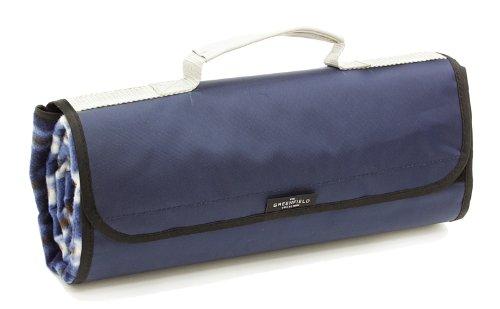 The Greenfield Collection PB003H Voll ausgekleidete isolierte und wasserabweisende Picknickdecke in mitternachtsblau passend zum Rucksack