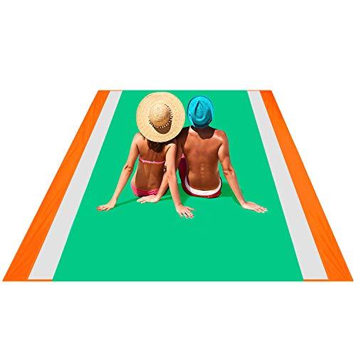 OUSPT PicknickdeckeStranddecke Campingdecke Strandtuch 250 x 200 cm Picknickdecke Campingdecke Strandtuch4 Befestigung Ecken Ultraleicht kompakt sandabweisend OrangeGrün