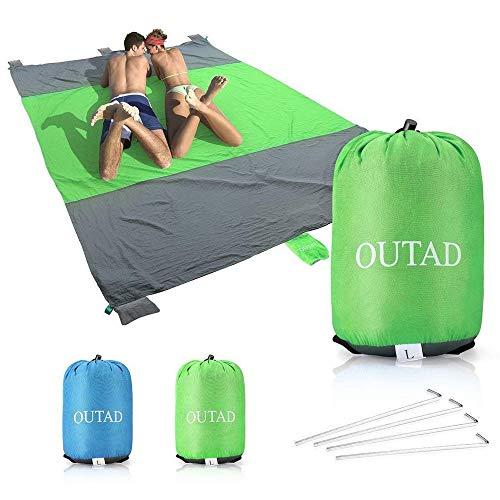 U-HOME stranddecke sandfrei 210 x 270cm Picknickdecke Campingdecke Strandtuch für Outdoor Reisen Wandern Camping Picknick Grün