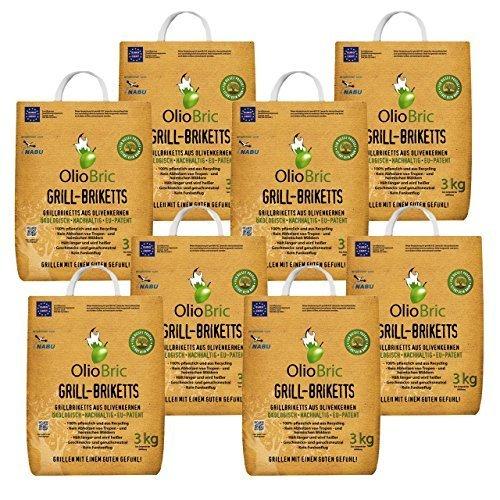 OlioBric Grillbriketts aus Olivenkernen 24kg Ohne Rauch Kein Holz Keine Funken Lange Brenndauer 100 Recycelte Grillkohle-Briketts für Jeden Grill  Umweltfreundliche rauchfreie Kohle Zum Grillen