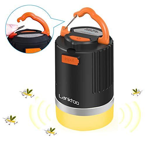 Camping-Laterne 3-in-1 wasserdichte LED wiederaufladbare Laterne 8800 mAh Powerbank Mückenabwehr-Lampe Outdoor-Zelt-Licht für Wandern Angeln und Notfälle 5 Beleuchtungsmodi schwarz