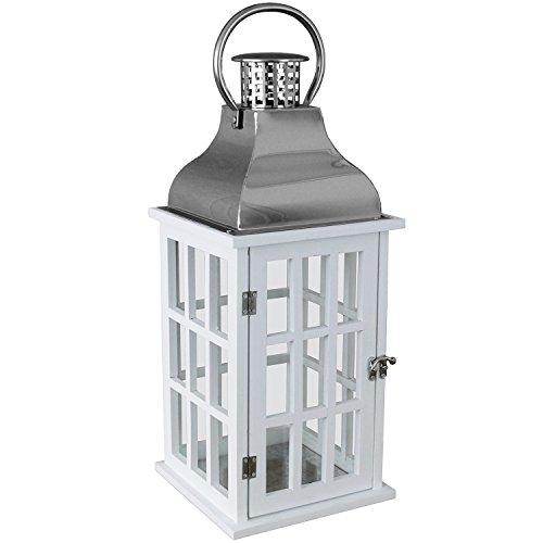 Holz Laterne mit Metalldach 32x15x15 cm Gartenlaterne Holzlaterne Windlicht mit Henkel Holzgestell mit Glasfenstern Kerzenhalter Gartenbeleuchtung Dekoration