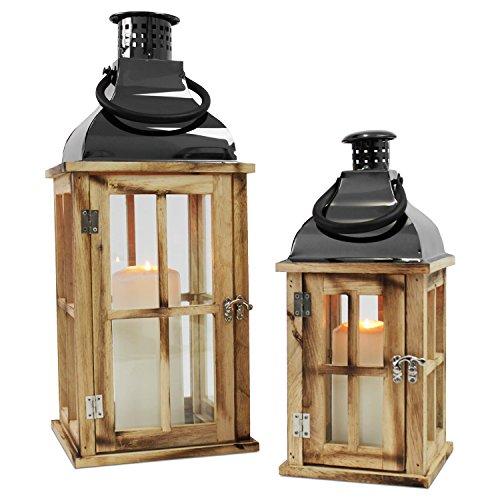 Multistore 2002 2tlg Holz Laternen-Set mit Metalldach H4834cm Gartenlaterne Holzlaterne Windlicht mit Henkel Holzgestell mit Glasfenstern Kerzenhalter