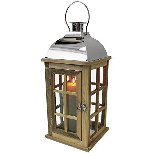 Multistore 2002 Holz Laterne mit Metalldach in Silber H43cm Gartenlaterne Holzlaterne Windlicht mit Henkel Holzgestell mit Glasfenstern Kerzenhalter