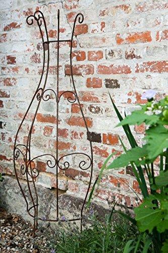 KUHEIGA Rankgitter Metall Rost halbrund zum Stecken Steckzaun 150 x 55cm Rankhilfe