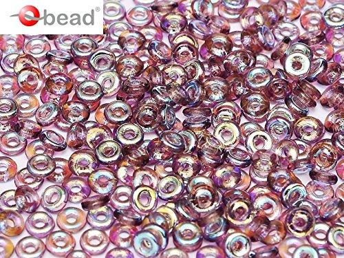 5gr O-Bead - Böhmische Gepresst Glasperlen in Donut-Form 1x4 mm Amethyst AB