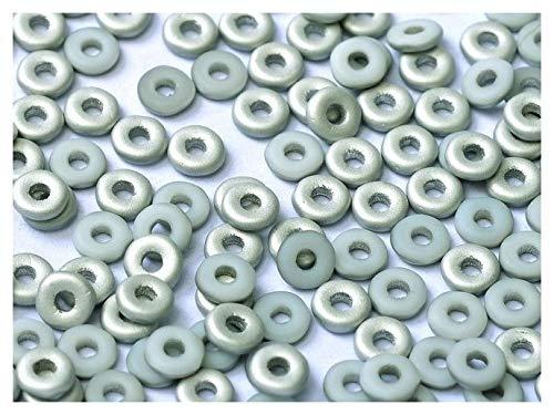 5gr O-Bead - Böhmische Gepresst Glasperlen in Donut-Form 1x4 mm Chalk White Labrador Matted Silver Matte