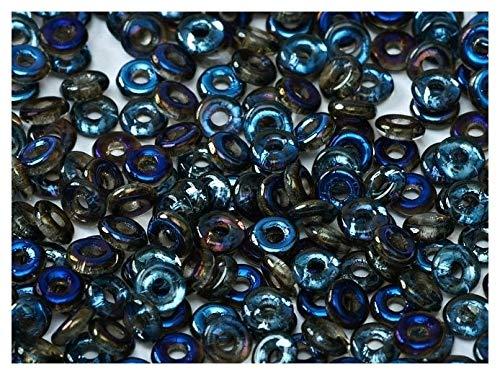 5gr O-Bead - Böhmische Gepresst Glasperlen in Donut-Form 1x4 mm Crystal Azuzo