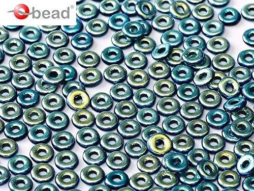 5gr O-Bead - Böhmische Gepresst Glasperlen in Donut-Form 1x4 mm Jet Full AB