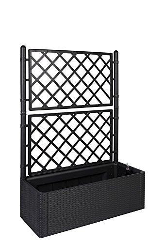 Kreher XL Rankgitter Spalier mit Pflanzkasten in moderner Rattan-Optik aus Robustem Kunststoff in AnthrazitGrau Maße BxTxH in cm 100 x 43 x 142 cm Topp für Garten Terrasse und Balkon
