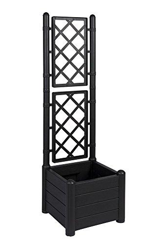 Rankgitter Spalier mit Pflanzkasten aus robustem Kunststoff in Anthrazit Grau Maße BxTxH in cm 43 x 43 x 142 cm Topp für Garten Terrasse und Balkon