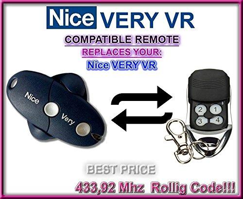 NICE VERY VR Garagentor Fernbedienung Sender 4 Kanal Kompatibel Handsender Rolling Code  43392 Mhz