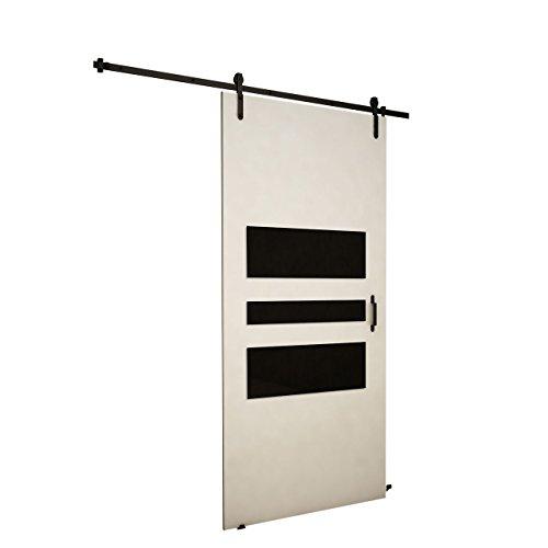 Mirjan24  Schiebetürsystem Antic I Schwarz Glas Komplett-Set für Schiebetüren mit Bodenführung Abstandsführung Trennwände Innentüren Weiß Modell 100 mit Selbstschließer