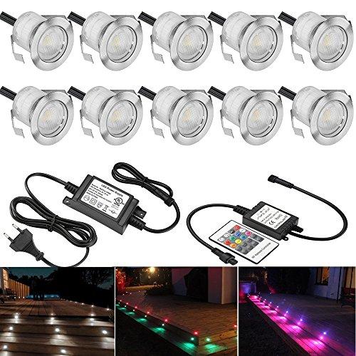 SUMAOTE 10 Stück RGB LED Einbaustrahler LED Bodeneinbauleuchte IP67 Wasserdicht 06W Ø30mm LED Einbauleuchte Terrasse Küche Garten LED Lampe