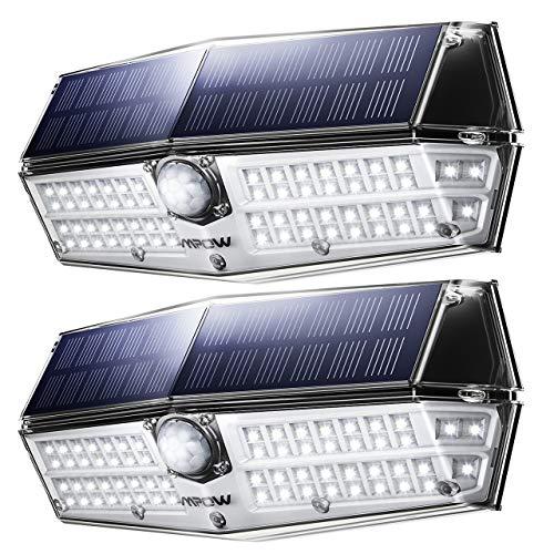 Solarleuchte Außen【NEUE VERSION】Mpow 66 LED Solarlampen für Außen IP67 Wasserdicht 120 ° Weitwinkel Sensorkopf Solarleuchte mit Bewegungsmelder Superhell Solarlampe für Garten Garage Balkon Hof