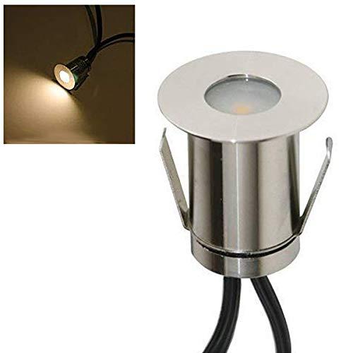 VBLED Mini Boden-Einbaustrahler 03W LED Warm-weiß 14 Lumen IP67 wassergeschützt Edelstahl - Rostfrei Robust - Einfache Montage in Terrassen Steinen uvm Einzel - ohne Netzteil