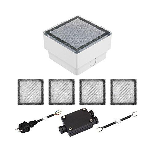 parlat 5er-Set LED Pflasterstein CUS Bodenleuchte für außen warm-weiß IP67 230V 10x10cm