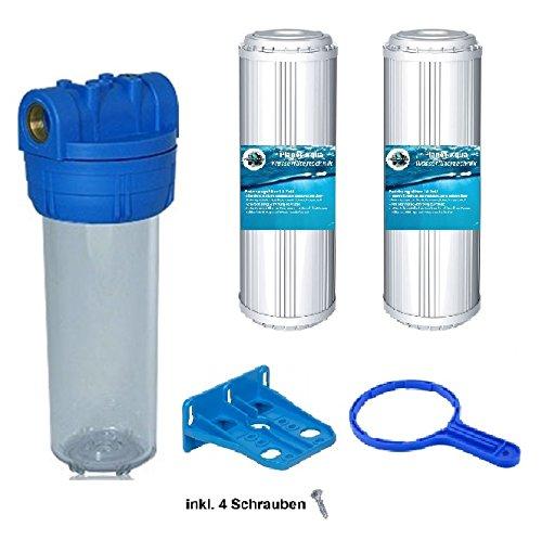 Planet-Aqua Filtergehäuse Duos 10 Zoll mit 12 Wasseranschluß 2X KALKFILTER Kartuschen 1x GEHÄUSESCHLÜSSEL 1x Halterung Vorfilter für Wasserfilter Osmose Anlagen Hauswasserwerk Brunnen